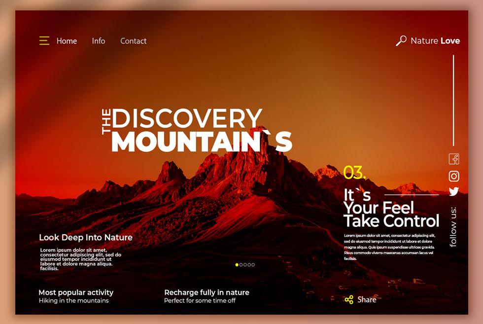 Nature Website Design UI Free PSD