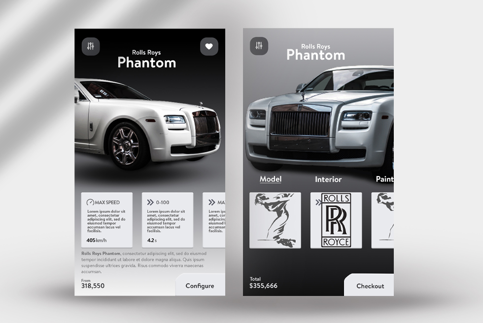 Rolls Roys Cars UI:UX Free PSD Template