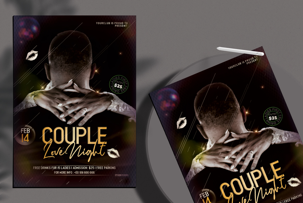 Couple Love Night Free PSD Flyer Template