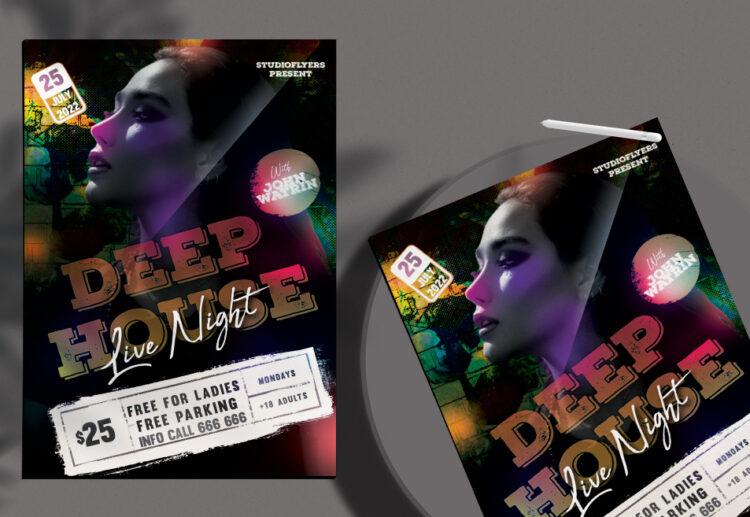 Deep House Live Night Free Flyer PSD Template