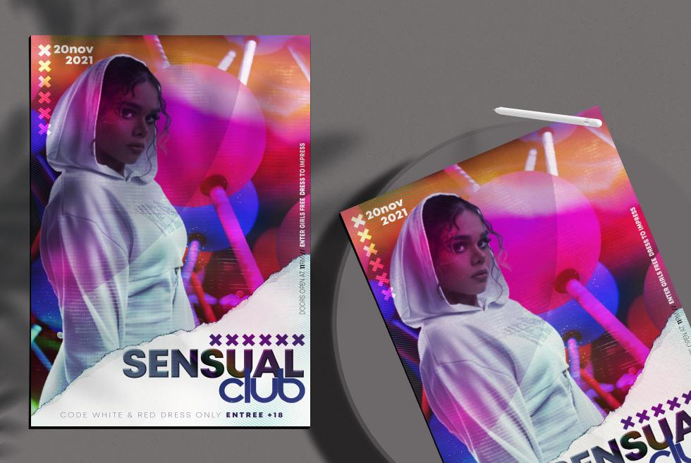 Sensual Club Flyer Free PSD Template