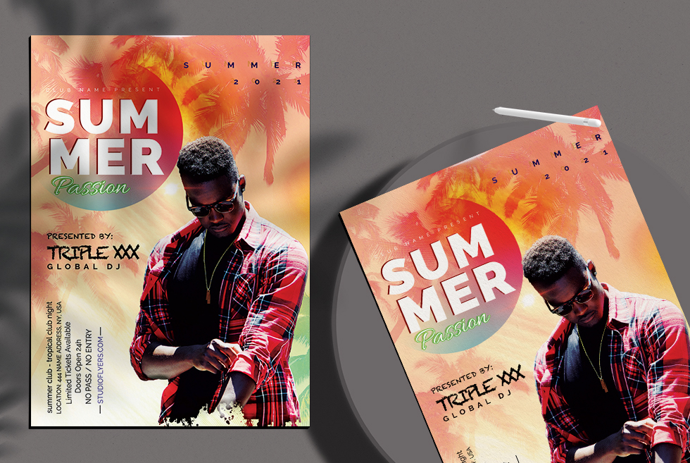 Summer Passion Flyer Free PSD Template