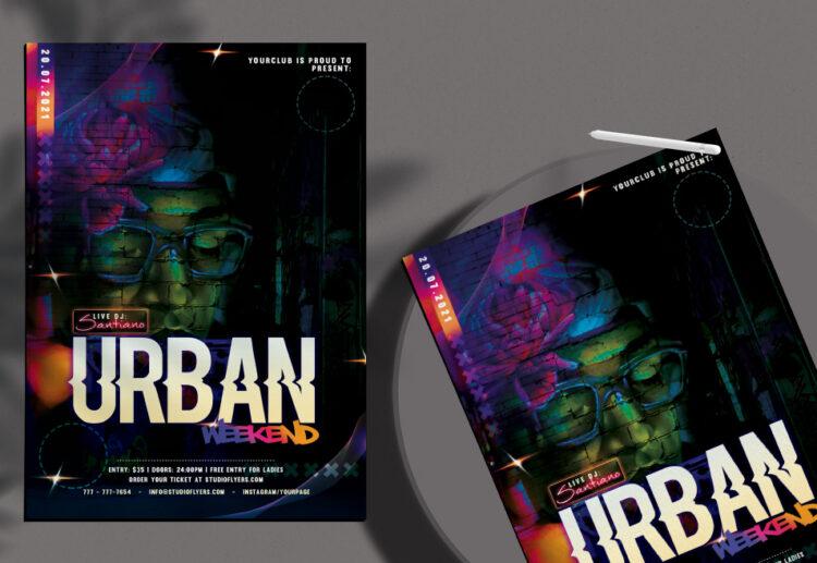 Urban Weekend Flyer Free PSD Template