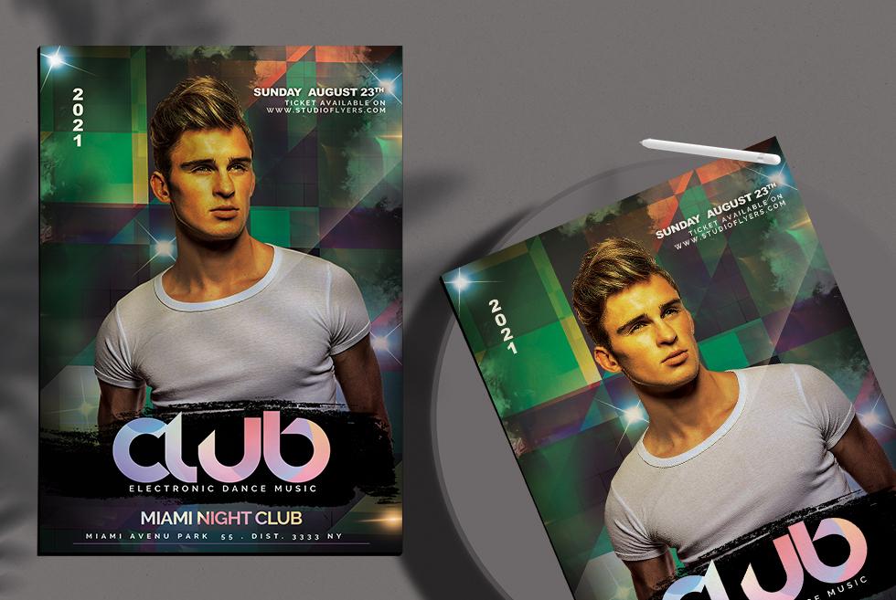 Club Dance Music Night Flyer Free PSD Template