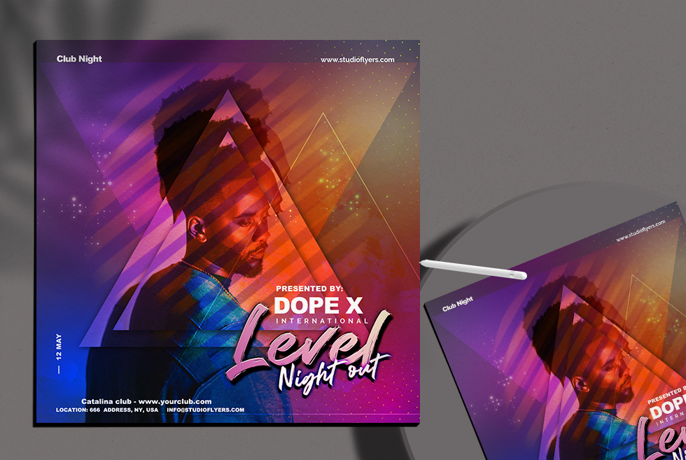 Dope Dj Night Out Flyer Free PSD Template