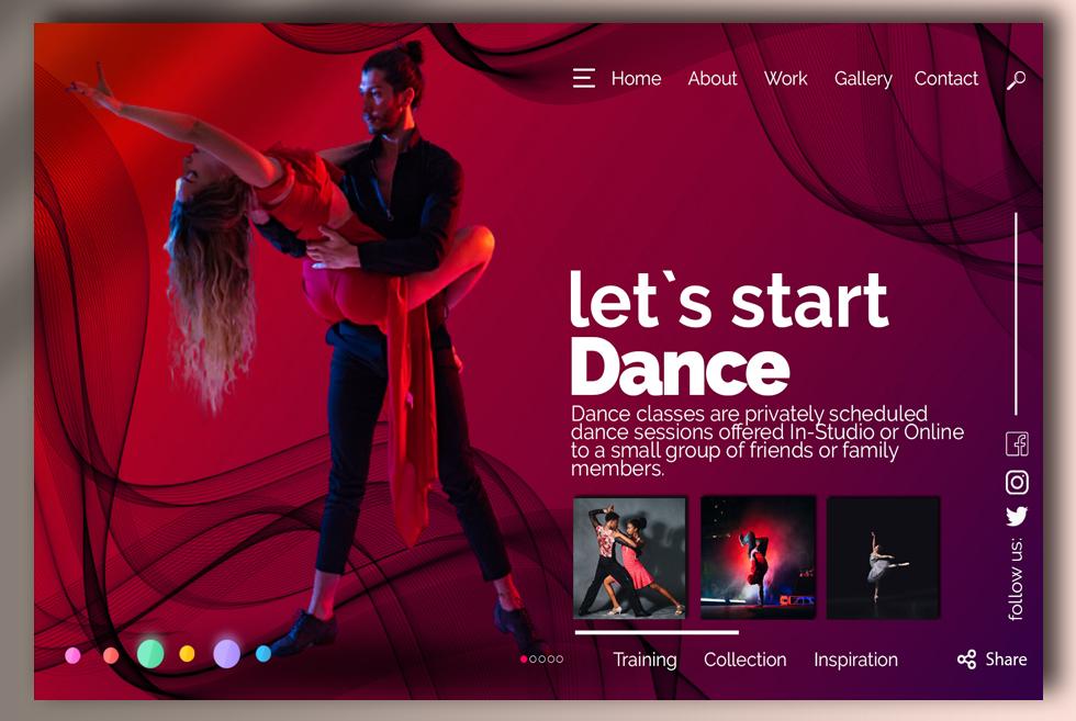 Dance Concept Design UI Free PSD Template