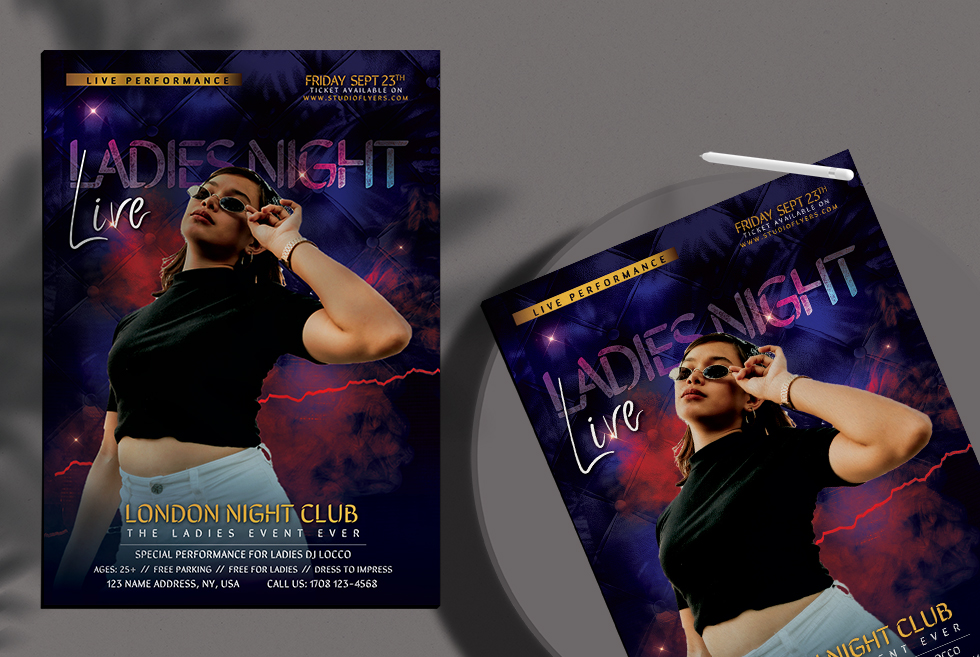 Ladies Event Night Party Flyer Free PSD Template