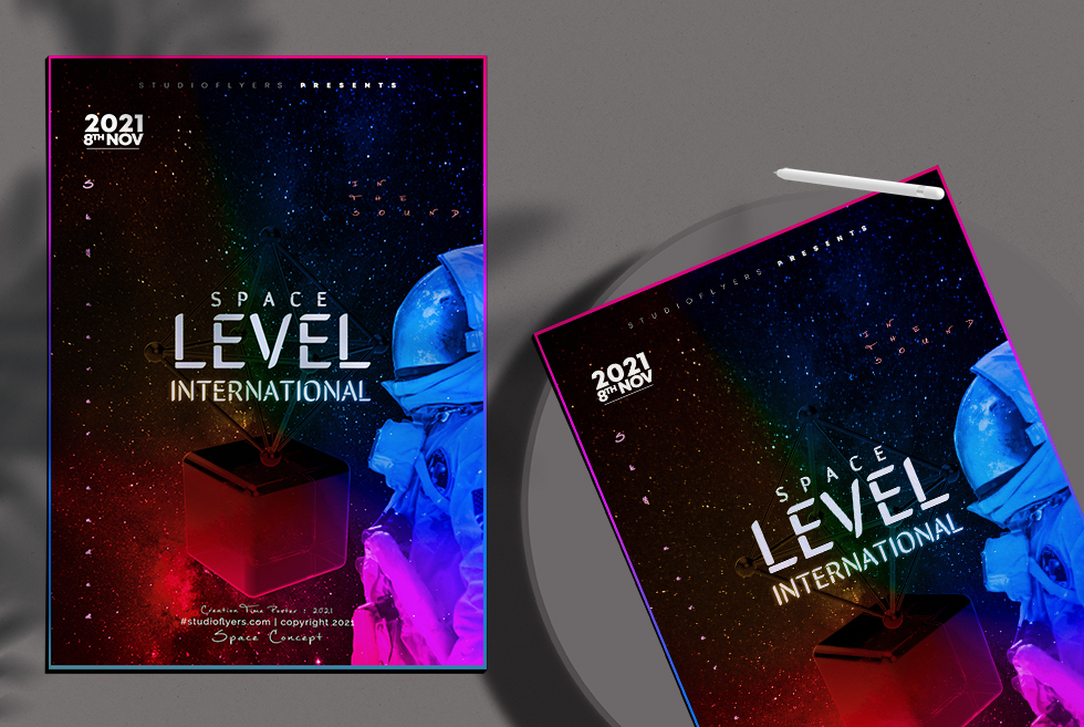 Space Concept Poster Free PSD Template