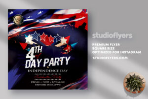4th of July Day Party Flyer PSD Template