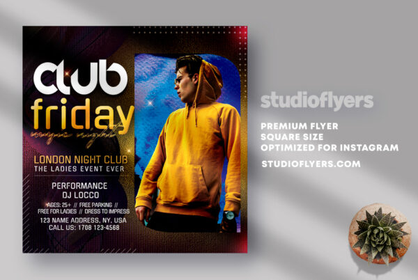 Friday Night Club Party Flyer PSD Templates