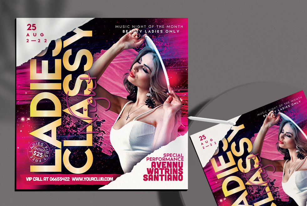 Ladies Classy Night Flyer Free PSD Template