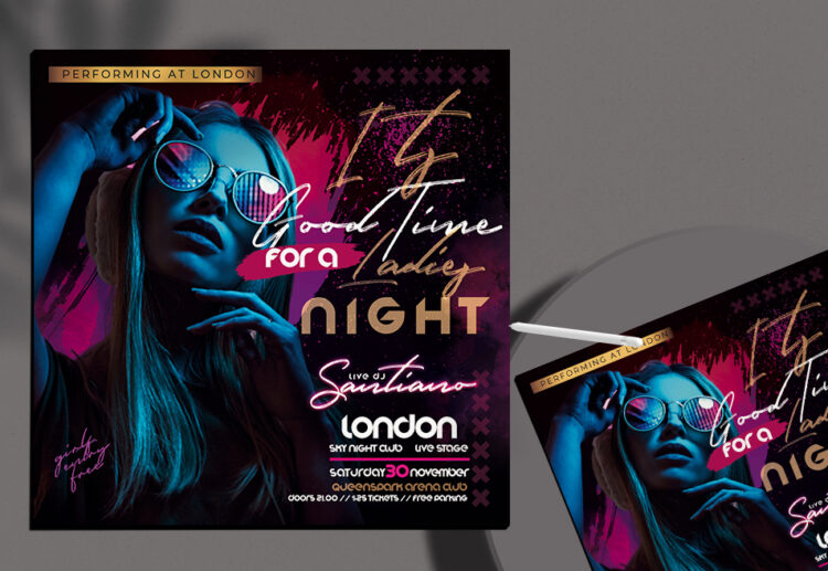Ladies Night Only Event Flyer Free PSD Template