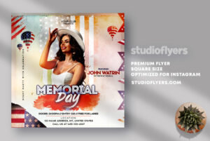 Memorial Day Party Flyer PSD Template