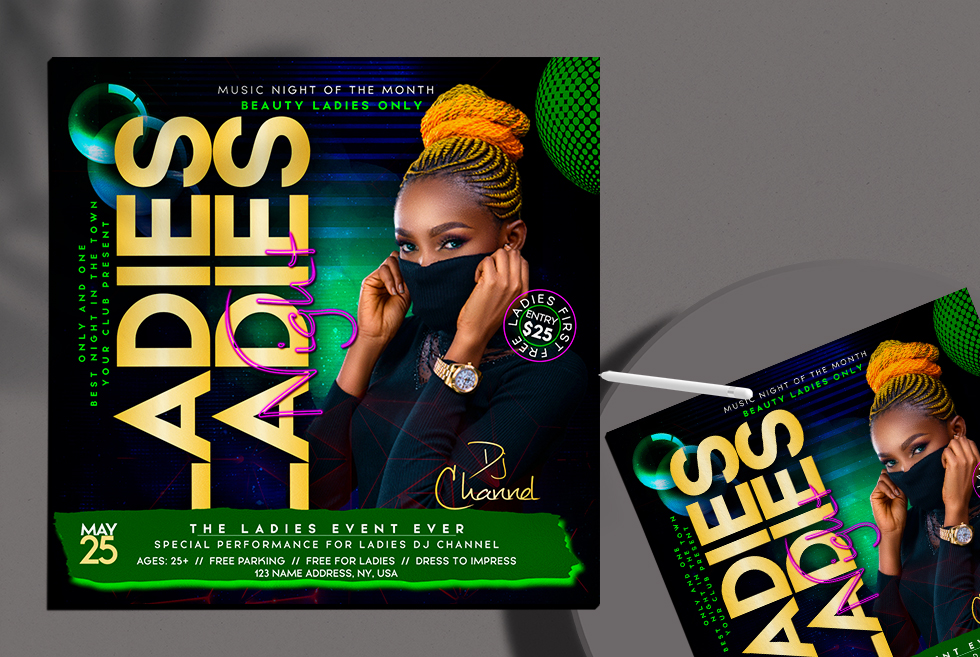 Only Ladies Event Night Flyer Free PSD Template