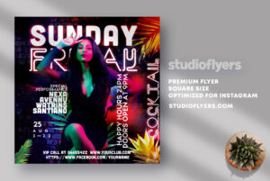 Sunday Friday Coctail Party Flyer Free PSD Template