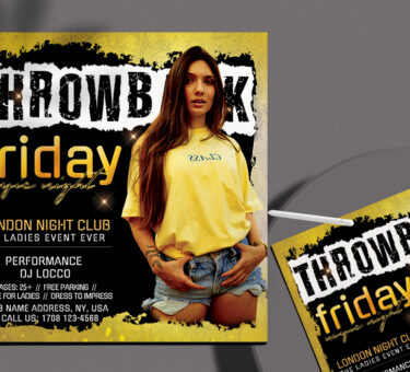 Throwback Friday Party Flyer Free PSD Template