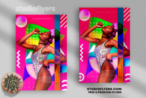 Abstract Club Party Poster PSD Template