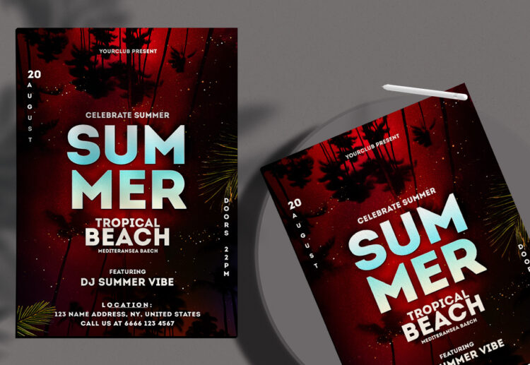 Celebrate Tropical Night Flyer Free PSD Template