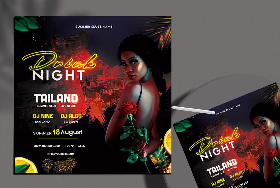 Drink Night Club Free PSD Flyer Template
