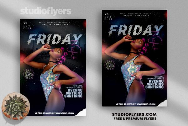 Friday Night Club Flyer PSD Template