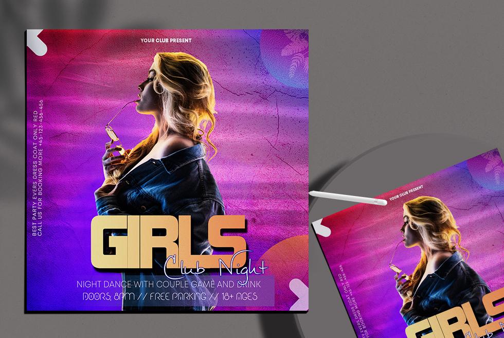 Girls Club Party Instagram Banner PSD