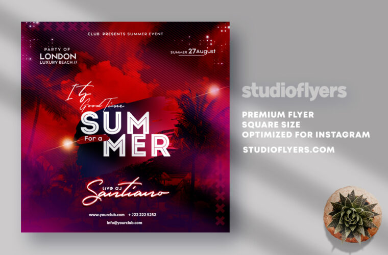 Its Time For Summer Instagram Banner PSD Template