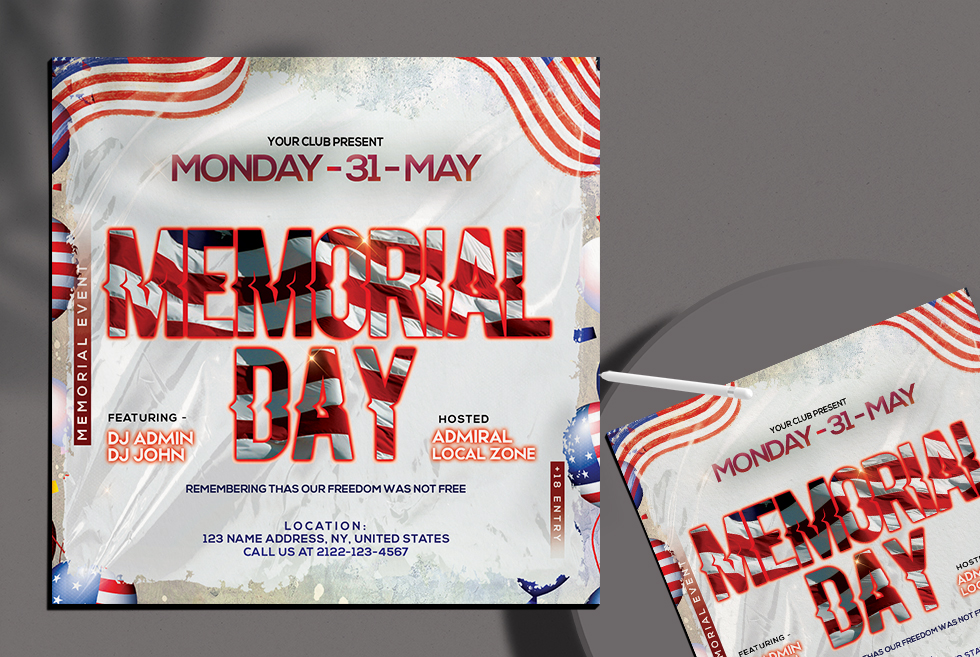 Memorial Day Party Flyer Free PSD Template
