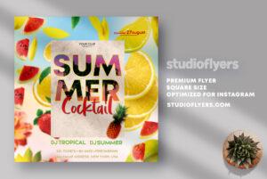 Summer Cocktail Flyer PSD Template