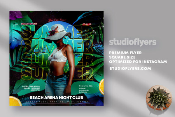 Summer Day Party Instagram Banner PSD Template
