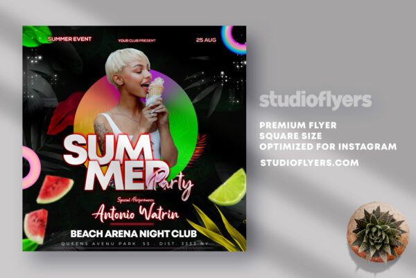 Summer Party Instagram Banner PSD Template