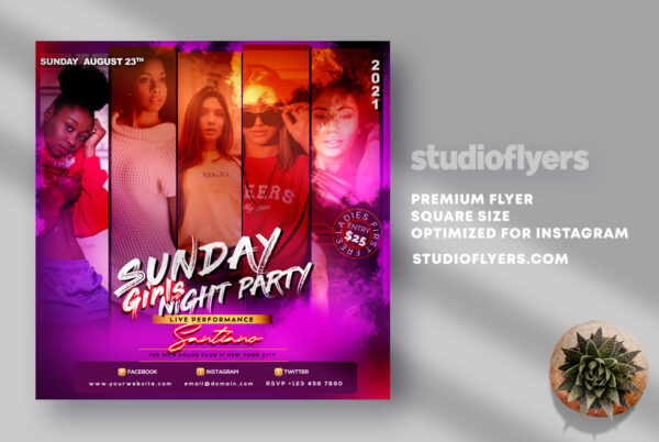 Sunday Girls Party Instagram Banner PSD