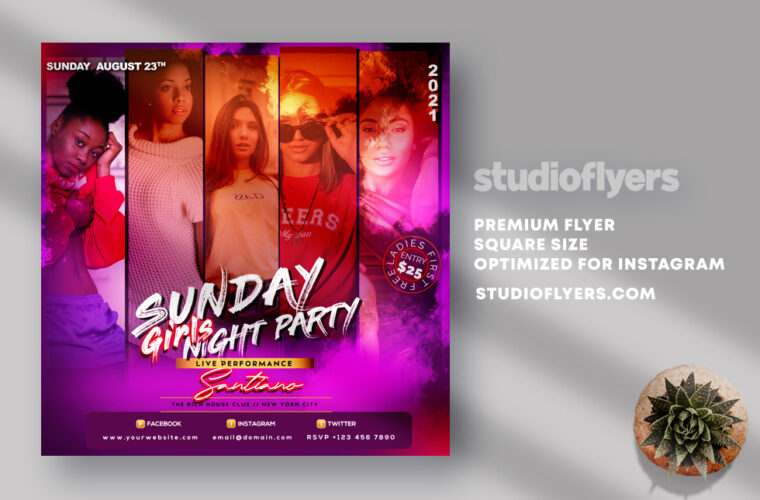 Sunday Girls Party Instagram Banner PSD