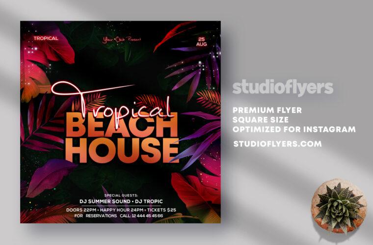 Tropical Beach House Instagram Banner PSD