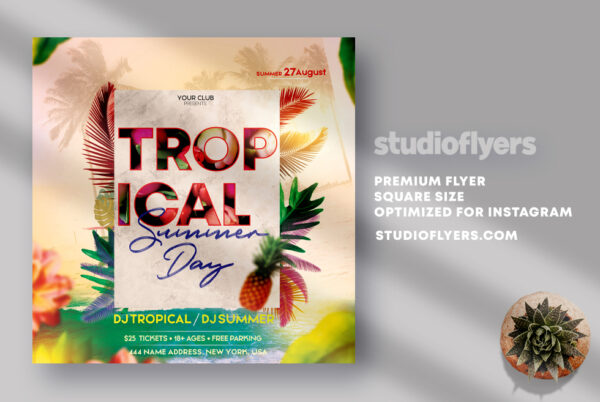 Tropical Summer Day Flyer PSD Template