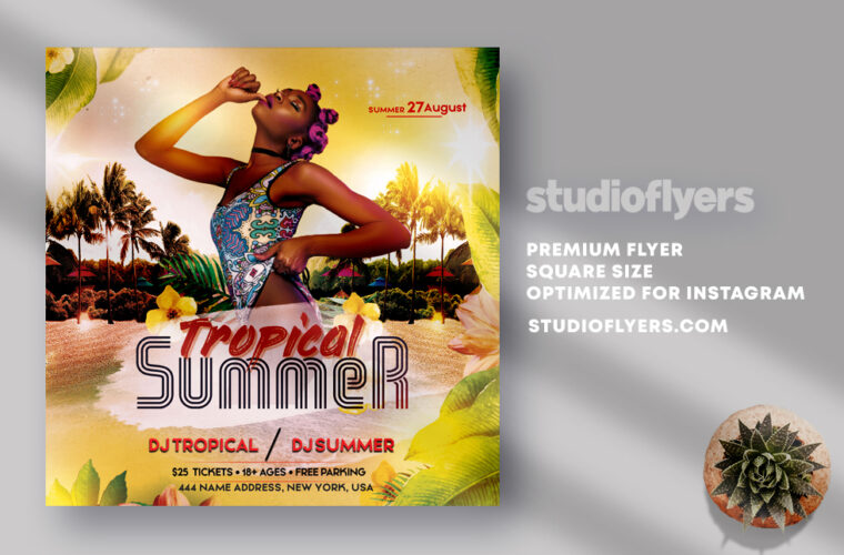 Tropical Summer Party Flyer PSD Template