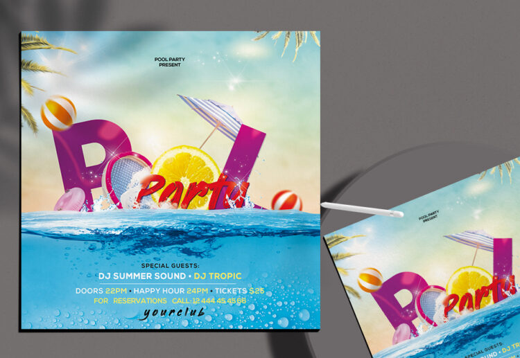 Pool Party Flyer Free PSD Template