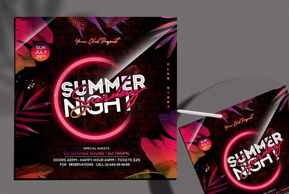Summer Night Club Free Instagram Banner PSD