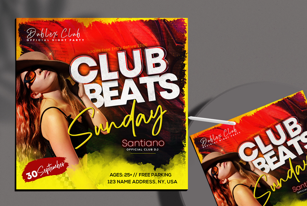 Club Beats Party Instagram Banner PSD Template