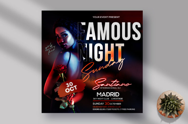 Famous Night Event Instagram Banner Free PSD