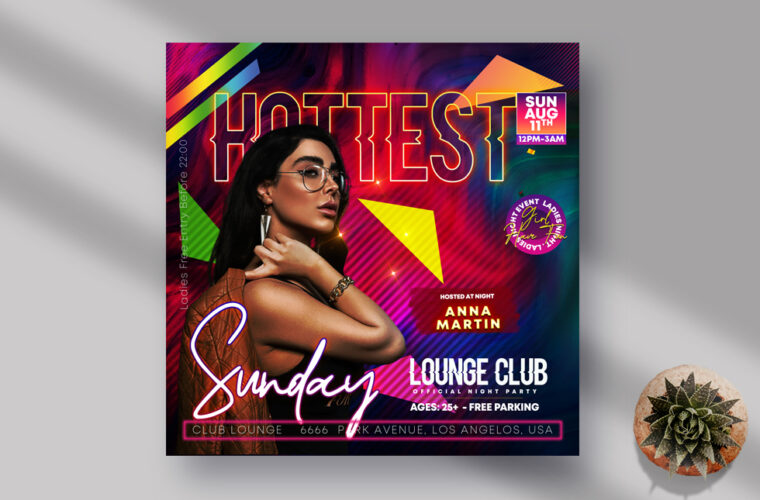 Hottest Night Instagram Banner PSD Template