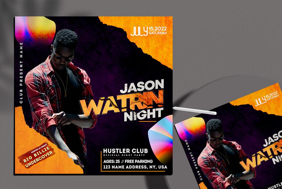 Saturday Club Night Instagram Banner Free PSD