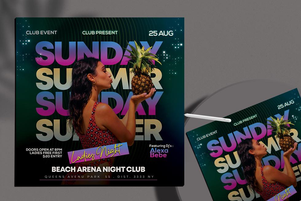 Sunday Summer Night Flyer Free PSD Template