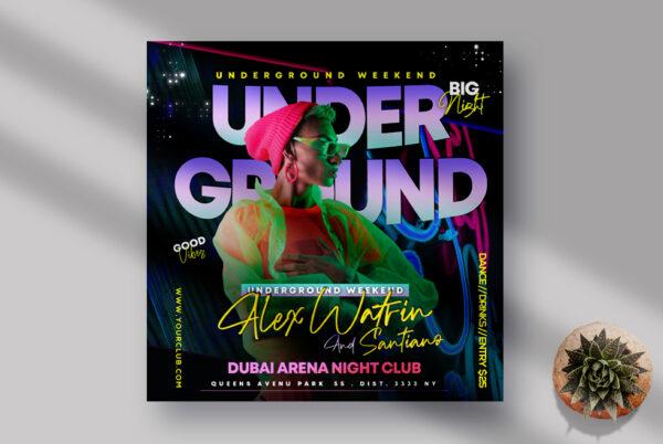 UnderGround Night Party Instagram Banner PSD