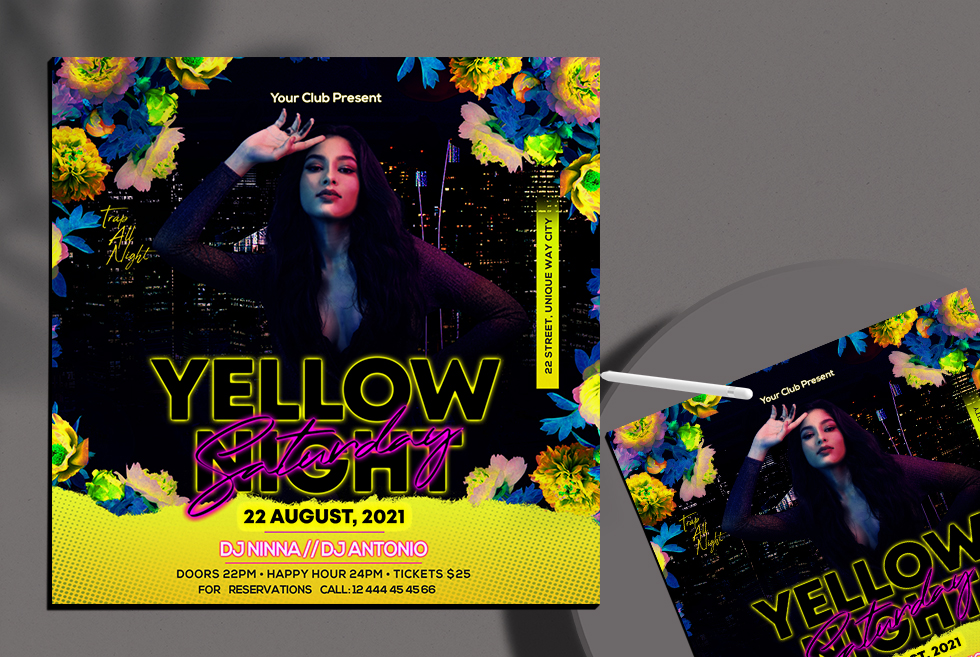 Yellow Night Club Instagram Banner Free PSD Template