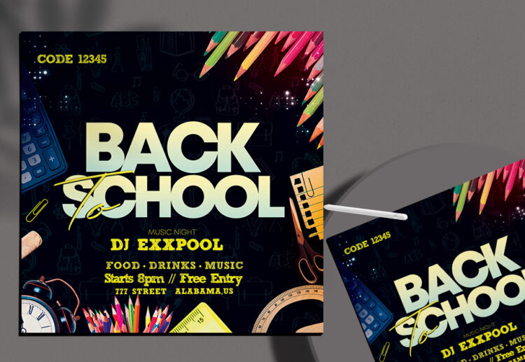 Back To School Flyer Free PSD Template