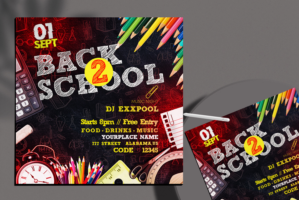 Back To School Free Instagram Banner PSD Template