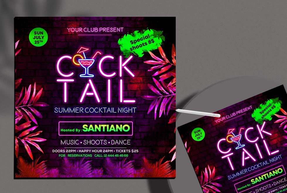 Cocktail Night Club Free Instagram Banner PSD