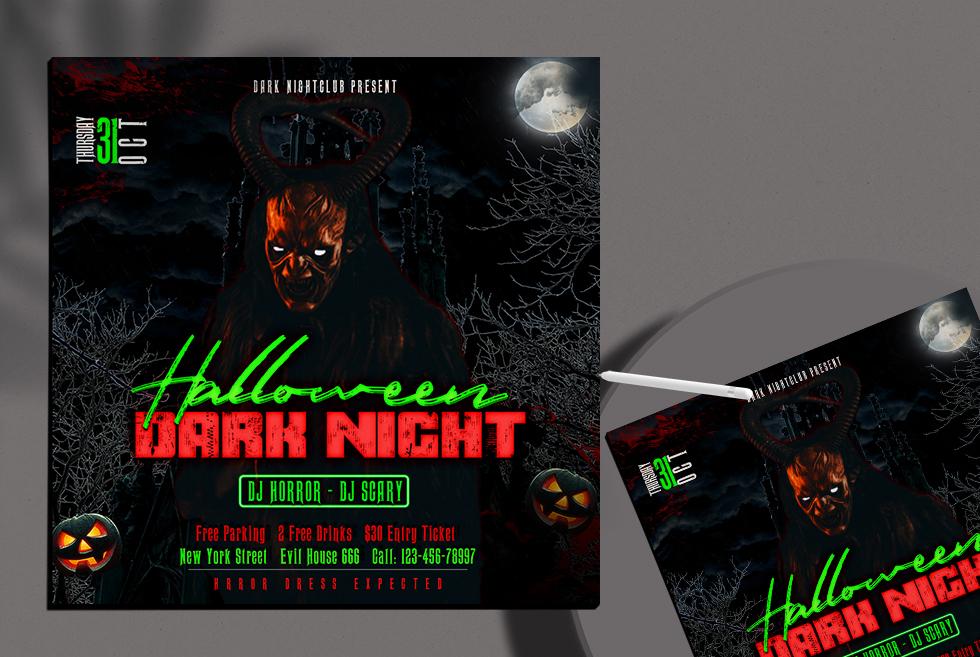 Dark Night Halloween Free Instagram Banner PSD