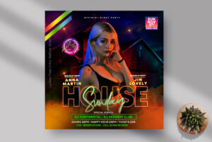 House Party Night Instagram Banner PSD Template