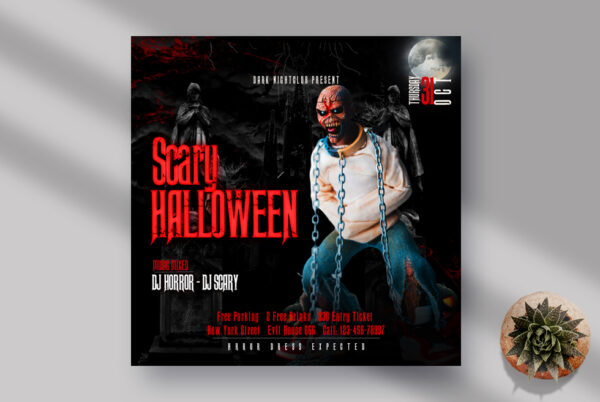 Scary Halloween Instagram Banner PSD Template
